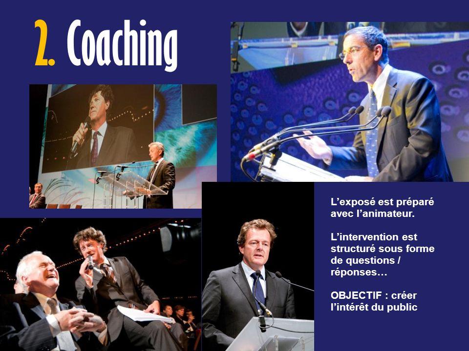 2. Coaching Lexposé est préparé avec lanimateur. Lintervention est structuré sous forme de questions / réponses… OBJECTIF : créer lintérêt du public