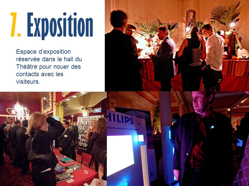 Espace dexposition réservée dans le hall du Théâtre pour nouer des contacts avec les visiteurs.