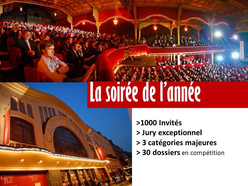 >1000 Invités > Jury exceptionnel > 3 catégories majeures > 30 dossiers en compétition La soirée de lannée