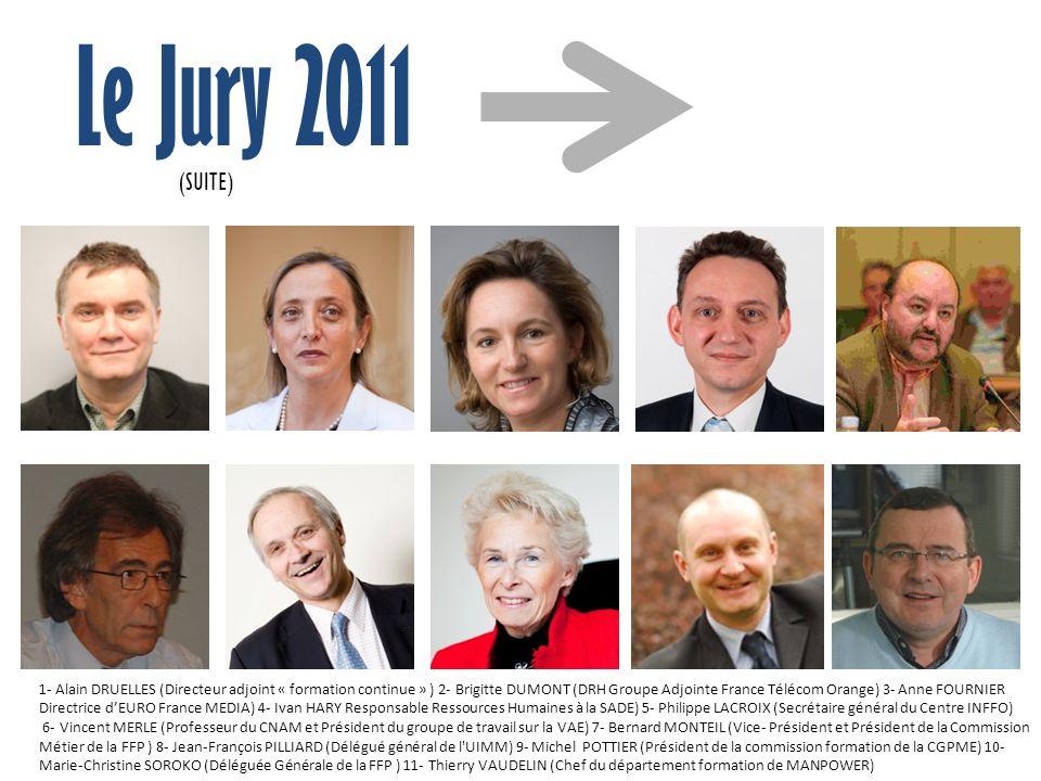 Le Jury 2011 1- Alain DRUELLES (Directeur adjoint « formation continue » ) 2- Brigitte DUMONT (DRH Groupe Adjointe France Télécom Orange) 3- Anne FOUR