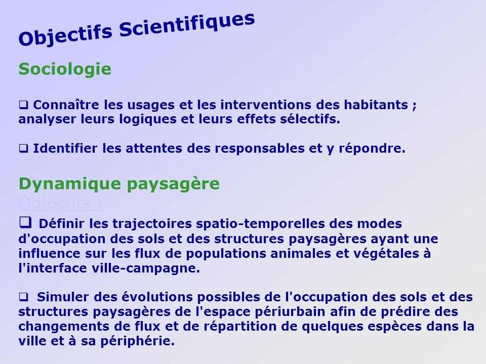Objectifs Scientifiques Dynamique paysagère Objectifs : Définir les trajectoires spatio-temporelles des modes d'occupation des sols et des structures