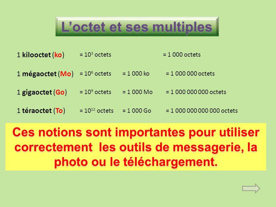 Loctet et ses multiples 1 kilooctet (ko) = 10 3 octets= 1 000 octets 1 mégaoctet (Mo) = 10 6 octets= 1 000 ko= 1 000 000 octets 1 gigaoctet (Go) = 10 9 octets= 1 000 Mo= 1 000 000 000 octets 1 téraoctet (To) = 10 12 octets= 1 000 Go= 1 000 000 000 000 octets Ces notions sont importantes pour utiliser correctement les outils de messagerie, la photo ou le téléchargement.