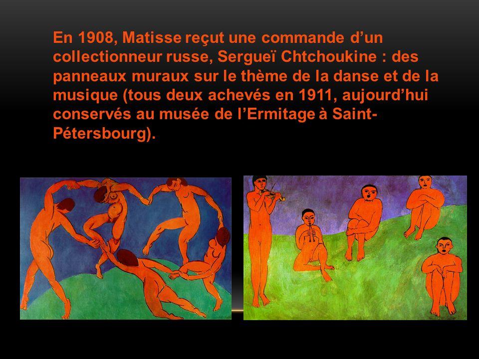 En 1908, Matisse reçut une commande dun collectionneur russe, Sergueï Chtchoukine : des panneaux muraux sur le thème de la danse et de la musique (tou