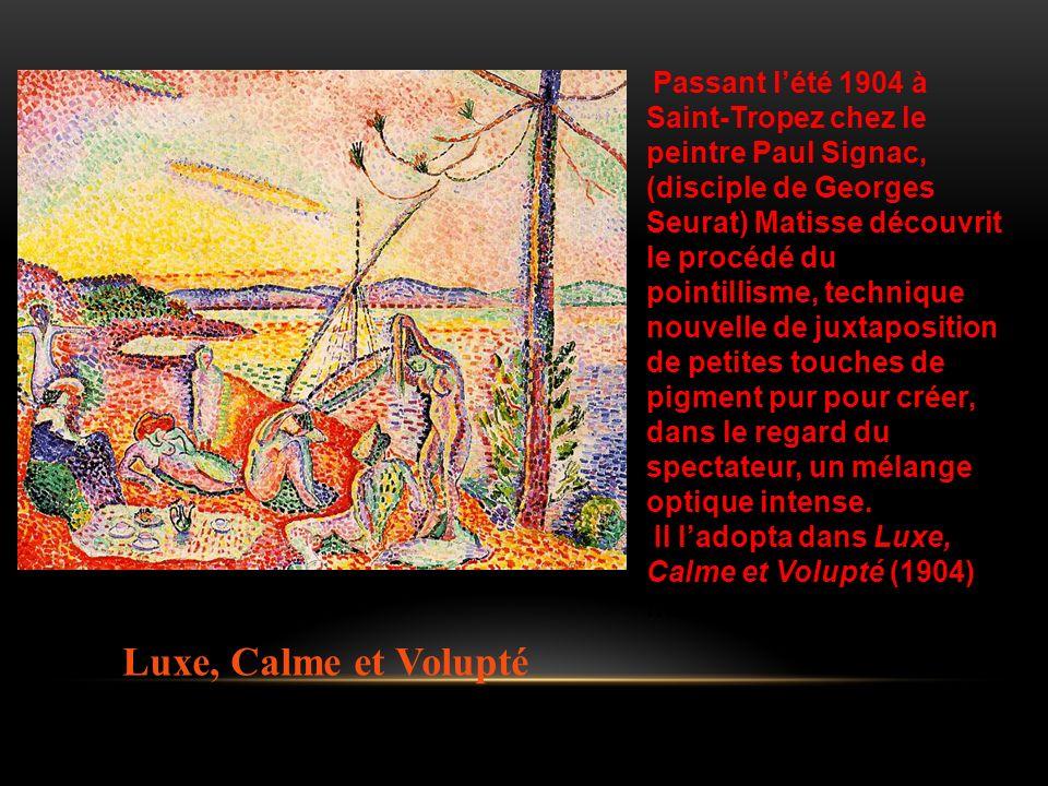 Passant lété 1904 à Saint-Tropez chez le peintre Paul Signac, (disciple de Georges Seurat) Matisse découvrit le procédé du pointillisme, technique nou