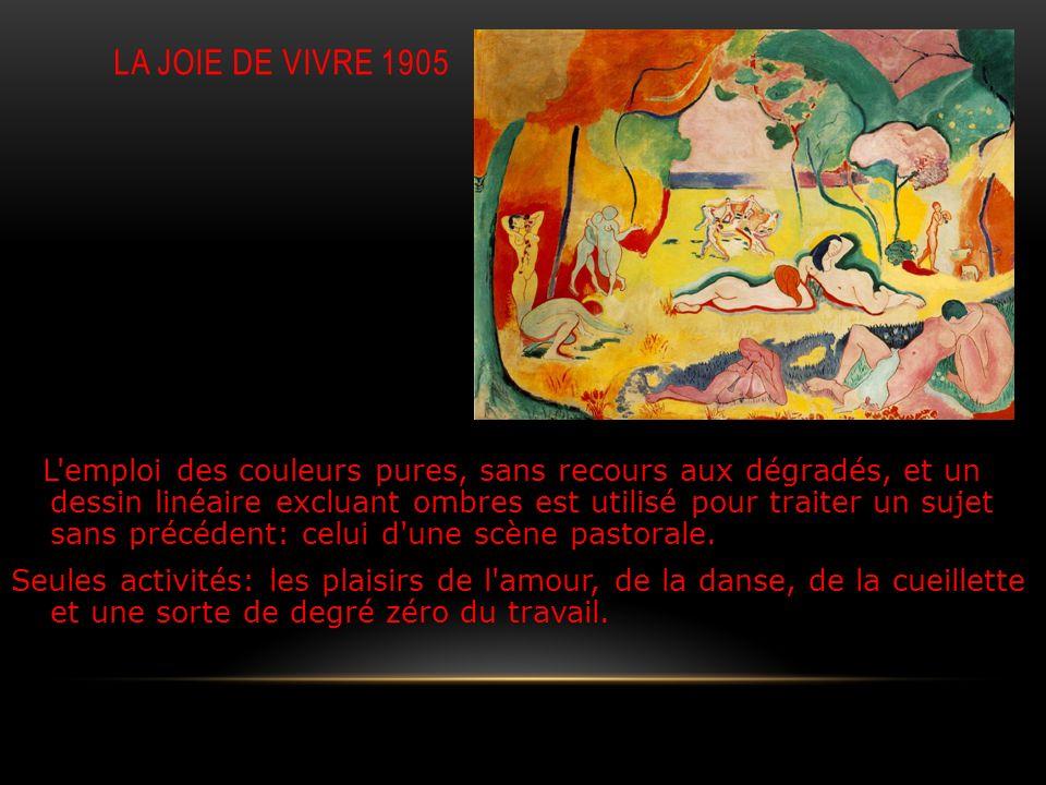 LA JOIE DE VIVRE 1905 L'emploi des couleurs pures, sans recours aux dégradés, et un dessin linéaire excluant ombres est utilisé pour traiter un sujet