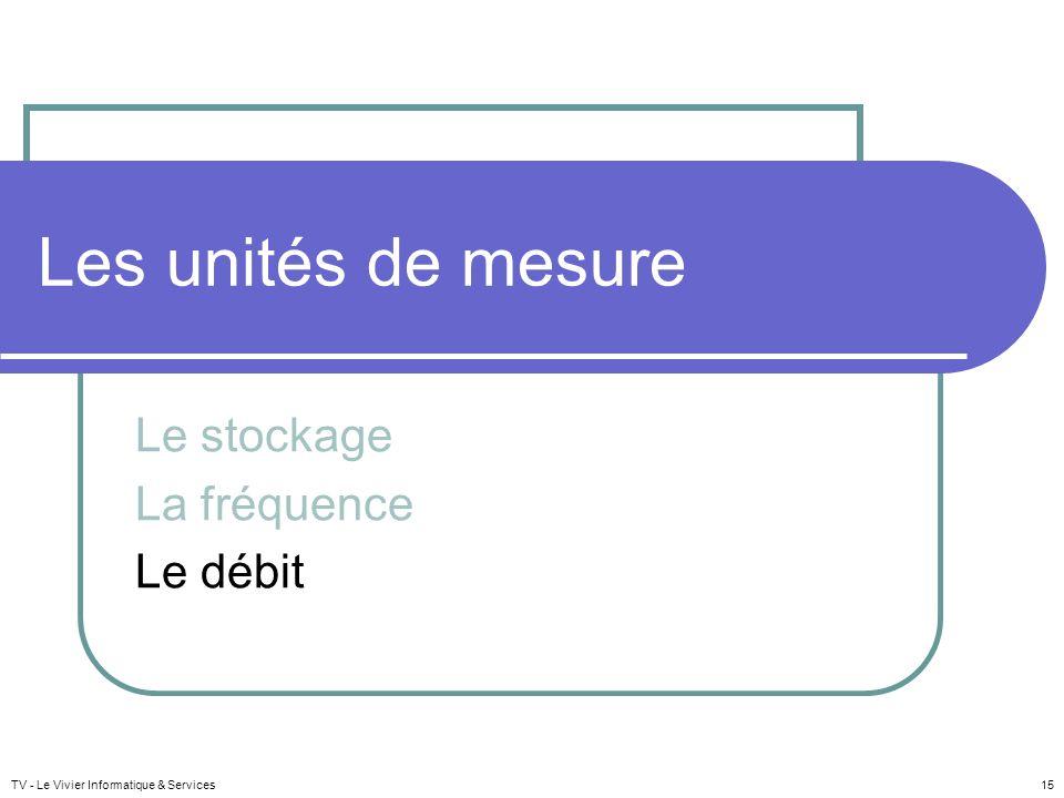 Les unités de mesure Le stockage La fréquence Le débit TV - Le Vivier Informatique & Services 15