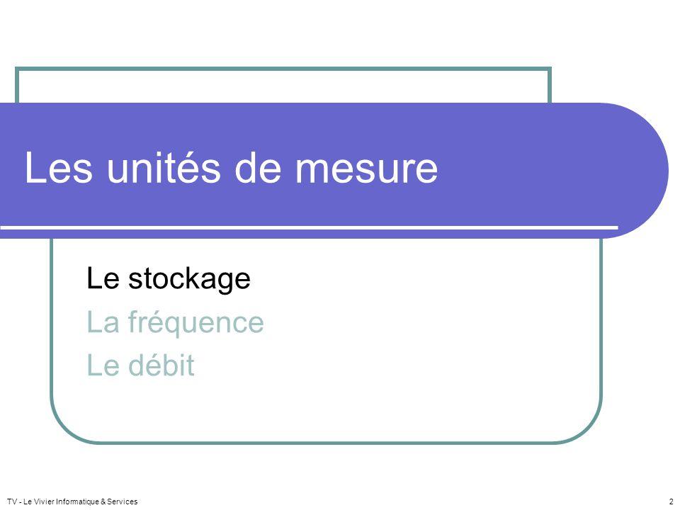 Les unités de mesure Le stockage La fréquence Le débit TV - Le Vivier Informatique & Services 2