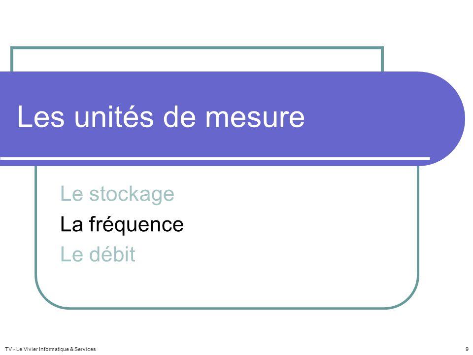 Les unités de mesure Le stockage La fréquence Le débit TV - Le Vivier Informatique & Services 9