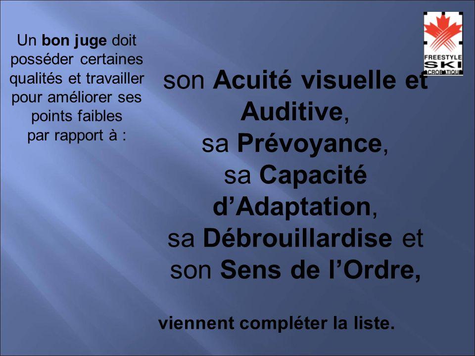 son Acuité visuelle et Auditive, sa Prévoyance, sa Capacité dAdaptation, sa Débrouillardise et son Sens de lOrdre, viennent compléter la liste.