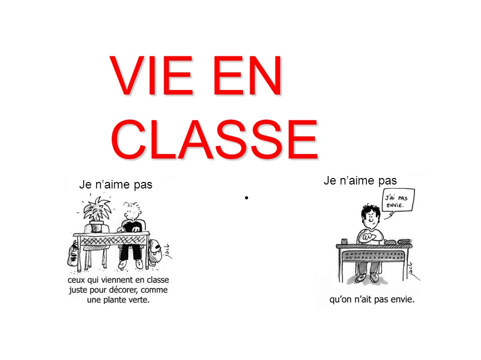 VIE EN CLASSE. Je naime pas