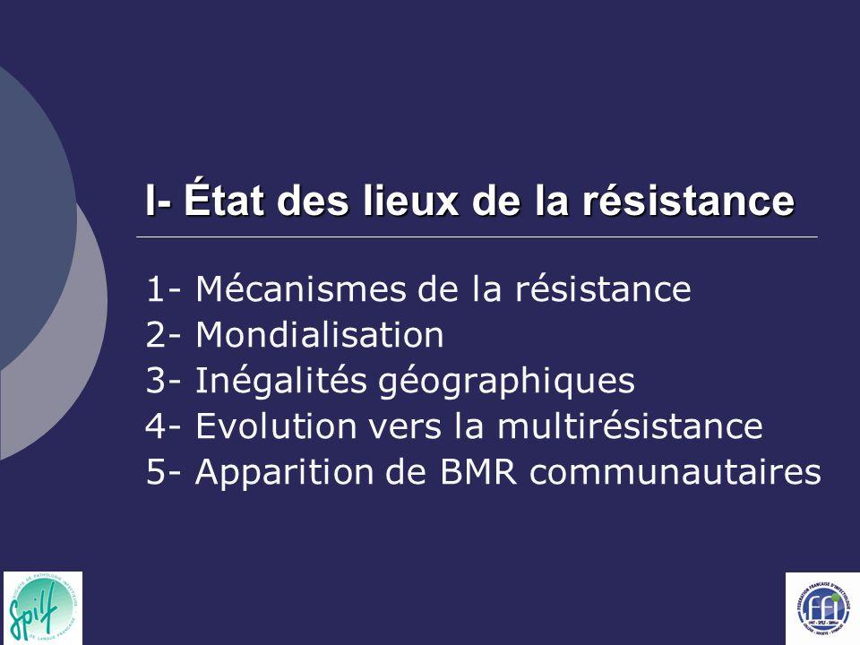 11 I- État des lieux de la résistance 1- Mécanismes de la résistance 2- Mondialisation 3- Inégalités géographiques 4- Evolution vers la multirésistanc