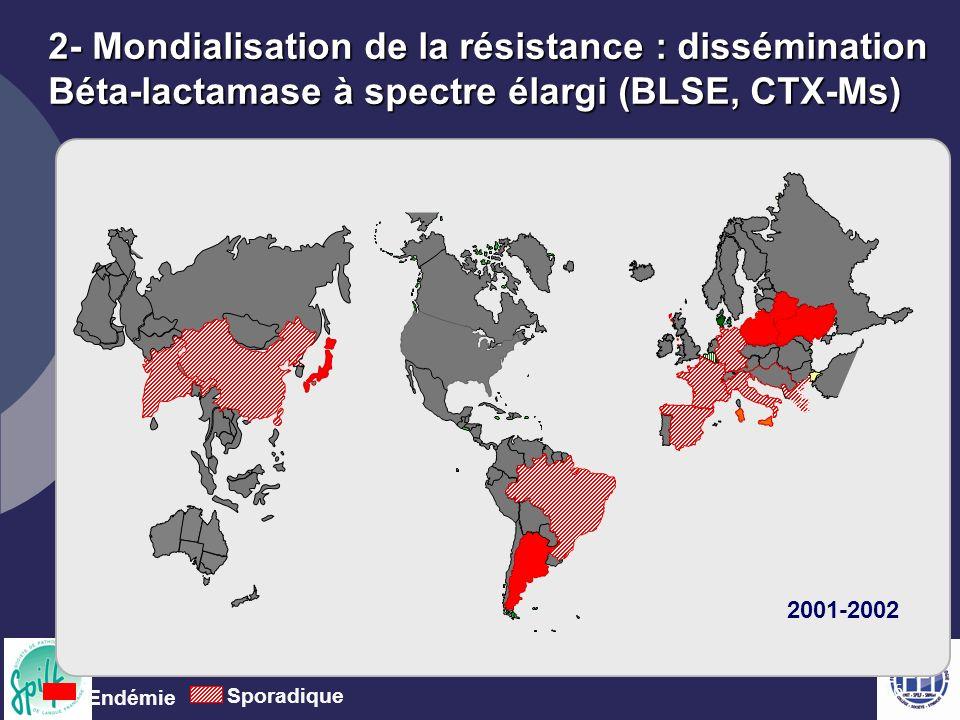 16 2- Mondialisation de la résistance : dissémination Béta-lactamase à spectre élargi (BLSE, CTX-Ms) Endémie Sporadique 2001-2002