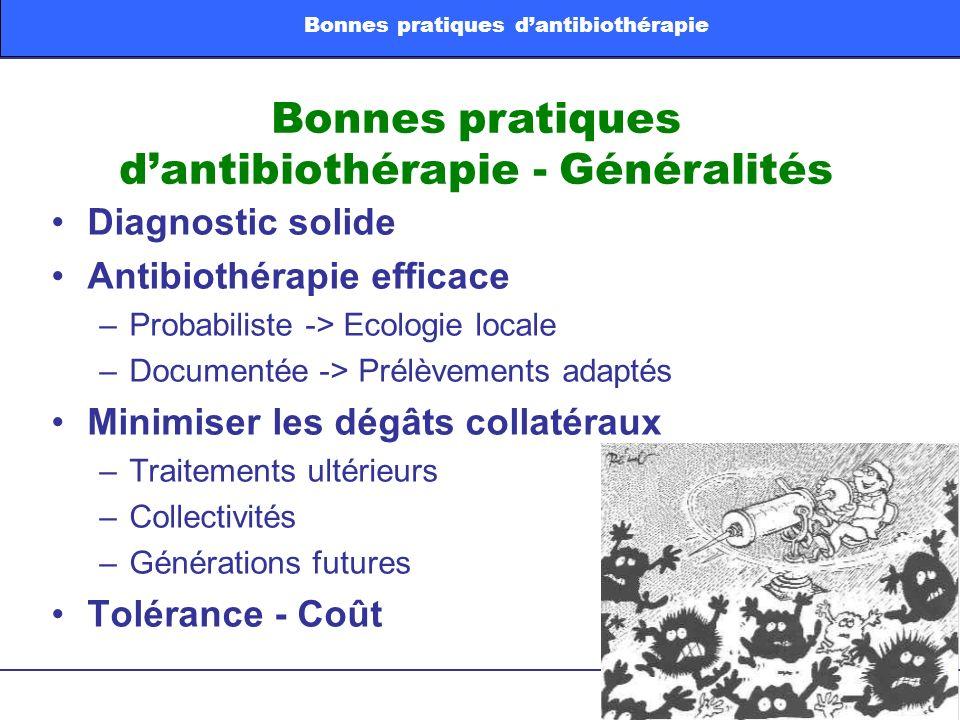 Bonnes pratiques dantibiothérapie - Généralités Diagnostic solide Antibiothérapie efficace –Probabiliste -> Ecologie locale –Documentée -> Prélèvement