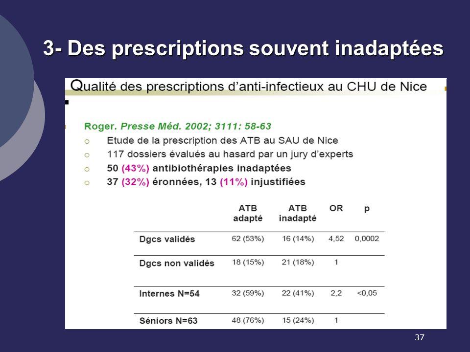 37 3- Des prescriptions souvent inadaptées