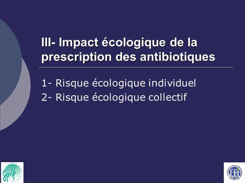 38 III- Impact écologique de la prescription des antibiotiques 1- Risque écologique individuel 2- Risque écologique collectif
