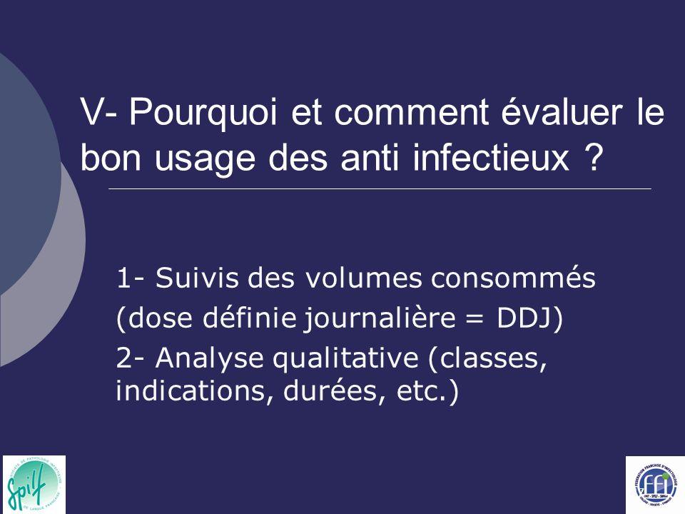 47 V- Pourquoi et comment évaluer le bon usage des anti infectieux ? 1- Suivis des volumes consommés (dose définie journalière = DDJ) 2- Analyse quali