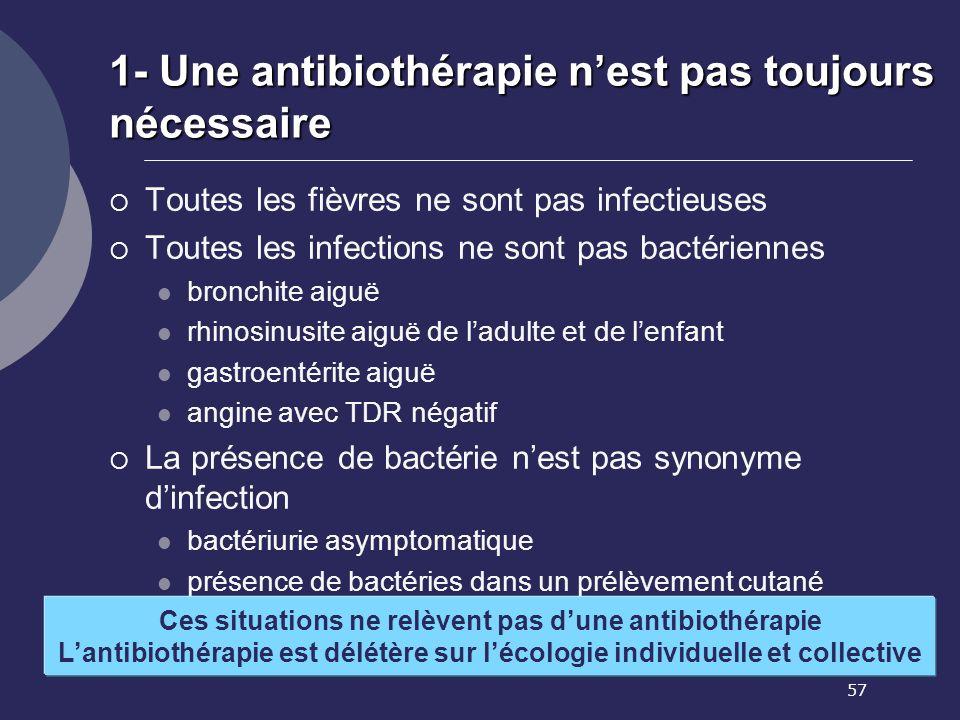57 1- Une antibiothérapie nest pas toujours nécessaire Toutes les fièvres ne sont pas infectieuses Toutes les infections ne sont pas bactériennes bron