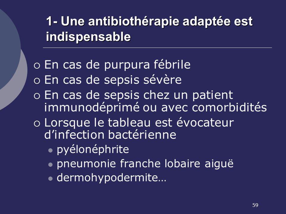 59 1- Une antibiothérapie adaptée est indispensable En cas de purpura fébrile En cas de sepsis sévère En cas de sepsis chez un patient immunodéprimé o
