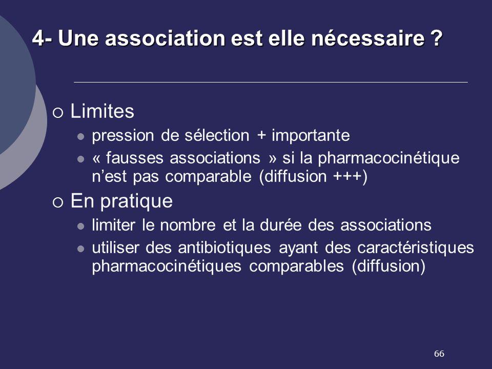 66 4- Une association est elle nécessaire ? Limites pression de sélection + importante « fausses associations » si la pharmacocinétique nest pas compa
