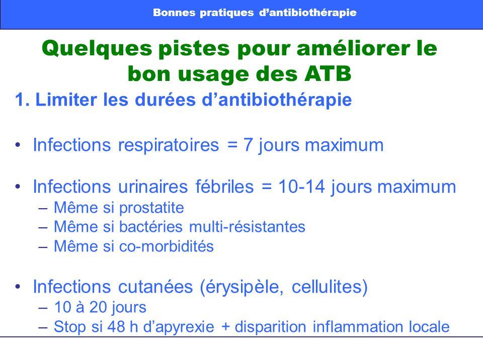 Quelques pistes pour améliorer le bon usage des ATB 1. Limiter les durées dantibiothérapie Infections respiratoires = 7 jours maximum Infections urina