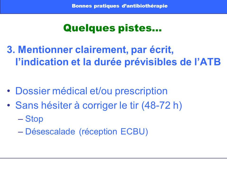 Quelques pistes… 3. Mentionner clairement, par écrit, lindication et la durée prévisibles de lATB Dossier médical et/ou prescription Sans hésiter à co
