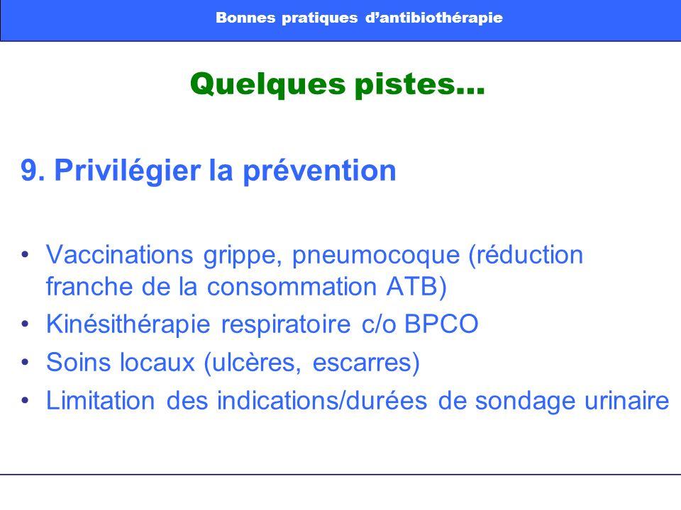 Quelques pistes… 9. Privilégier la prévention Vaccinations grippe, pneumocoque (réduction franche de la consommation ATB) Kinésithérapie respiratoire