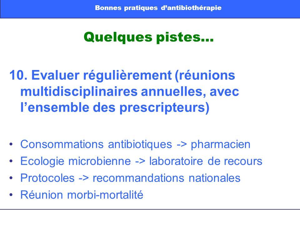 Quelques pistes… 10. Evaluer régulièrement (réunions multidisciplinaires annuelles, avec lensemble des prescripteurs) Consommations antibiotiques -> p