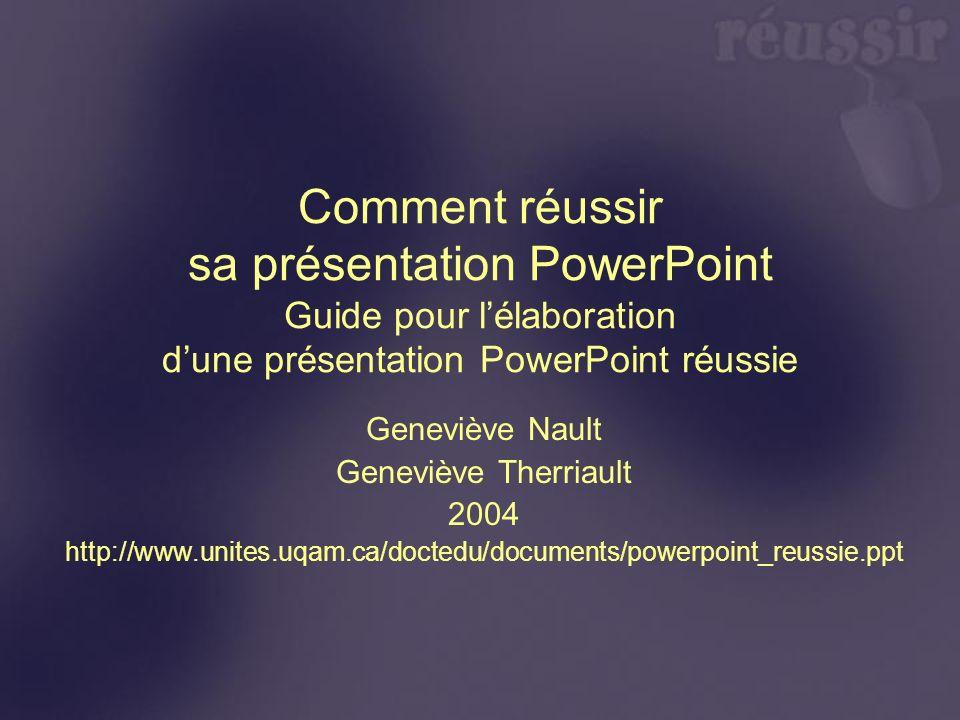 Comment réussir sa présentation PowerPoint Guide pour lélaboration dune présentation PowerPoint réussie Geneviève Nault Geneviève Therriault 2004 http