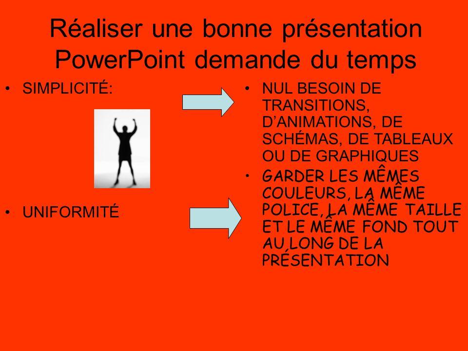 Réaliser une bonne présentation PowerPoint demande du temps SIMPLICITÉ: UNIFORMITÉ NUL BESOIN DE TRANSITIONS, DANIMATIONS, DE SCHÉMAS, DE TABLEAUX OU