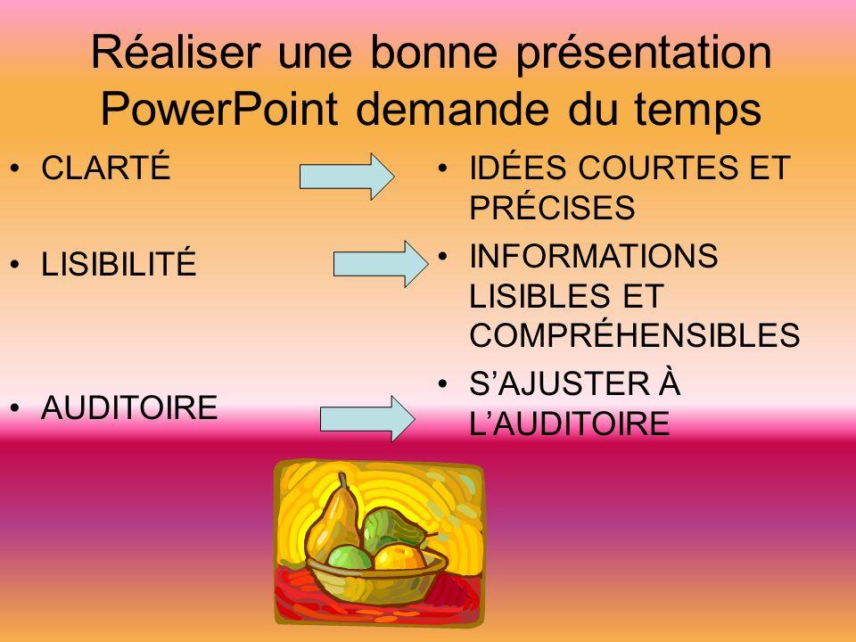 Réaliser une bonne présentation PowerPoint demande du temps CLARTÉ LISIBILITÉ AUDITOIRE IDÉES COURTES ET PRÉCISES INFORMATIONS LISIBLES ET COMPRÉHENSI