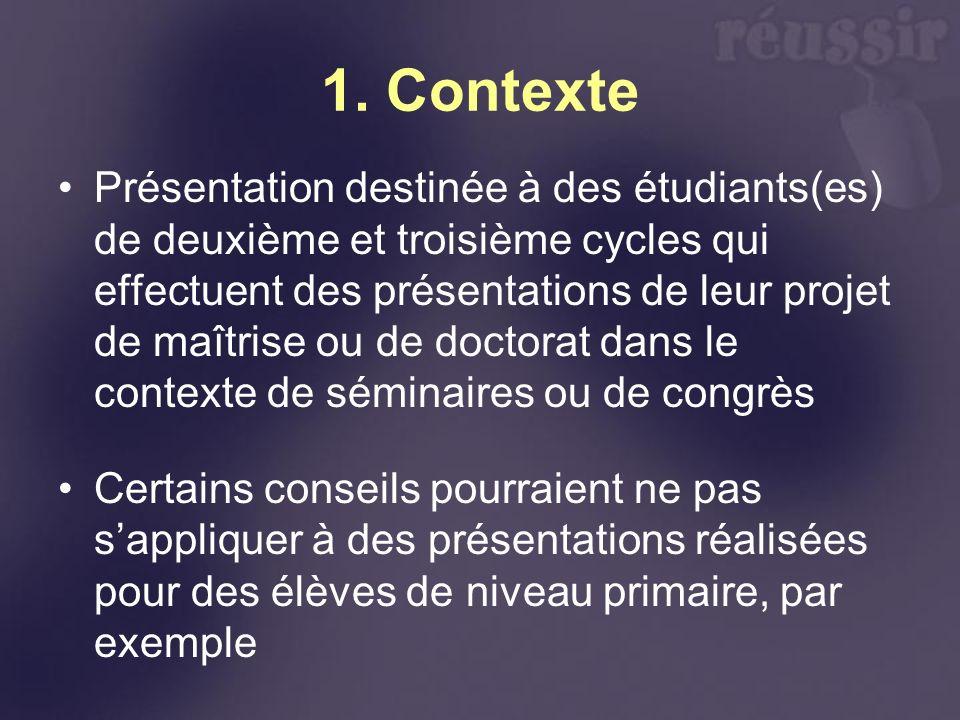 1. Contexte Présentation destinée à des étudiants(es) de deuxième et troisième cycles qui effectuent des présentations de leur projet de maîtrise ou d