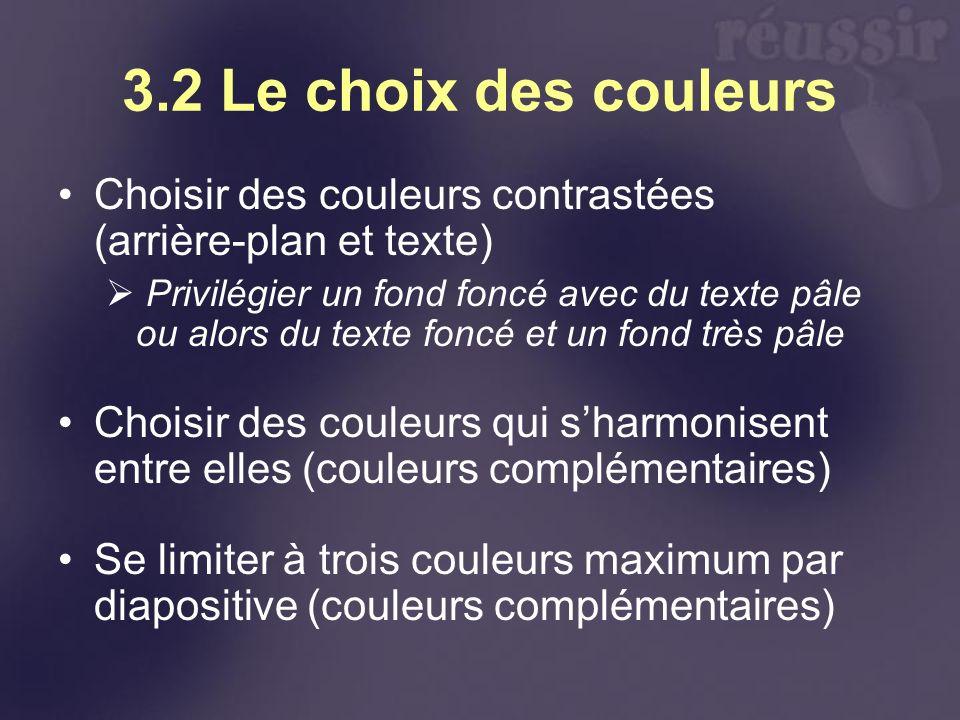 3.2 Le choix des couleurs Choisir des couleurs contrastées (arrière-plan et texte) Privilégier un fond foncé avec du texte pâle ou alors du texte fonc
