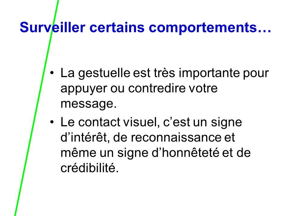 Surveiller certains comportements… La gestuelle est très importante pour appuyer ou contredire votre message.