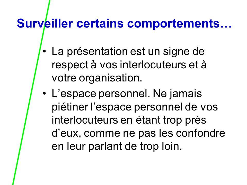 La présentation est un signe de respect à vos interlocuteurs et à votre organisation.