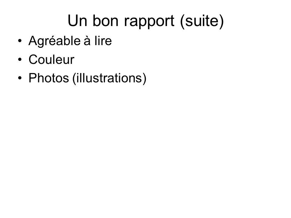 Un bon rapport (suite) Agréable à lire Couleur Photos (illustrations)