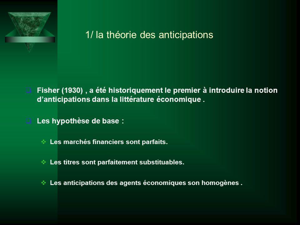 1/ la théorie des anticipations Fisher (1930), a été historiquement le premier à introduire la notion danticipations dans la littérature économique. L