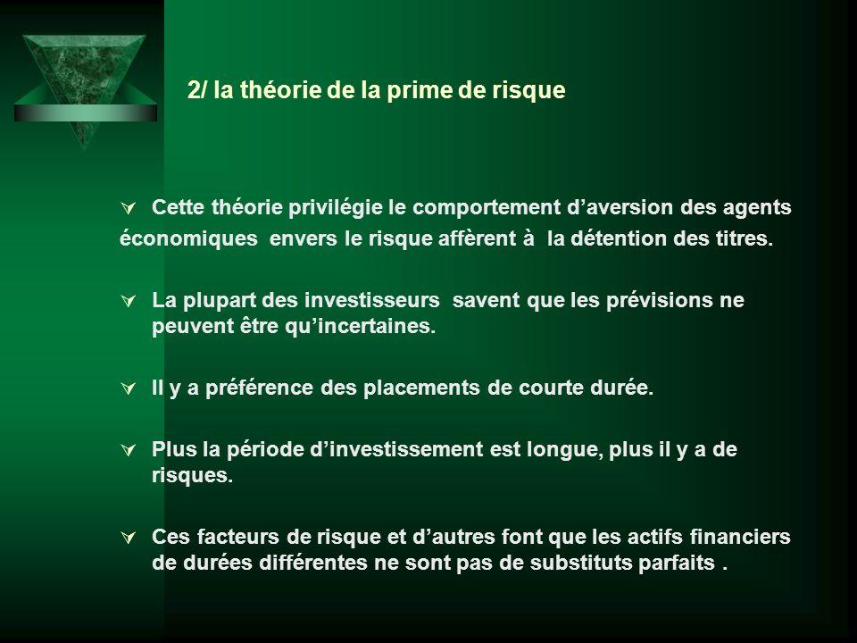 2/ la théorie de la prime de risque Cette théorie privilégie le comportement daversion des agents économiques envers le risque affèrent à la détention