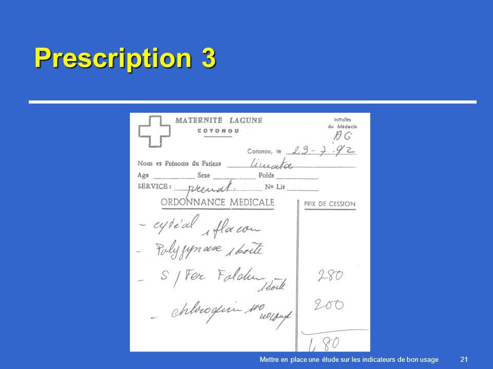 Mettre en place une étude sur les indicateurs de bon usage21 Prescription 3
