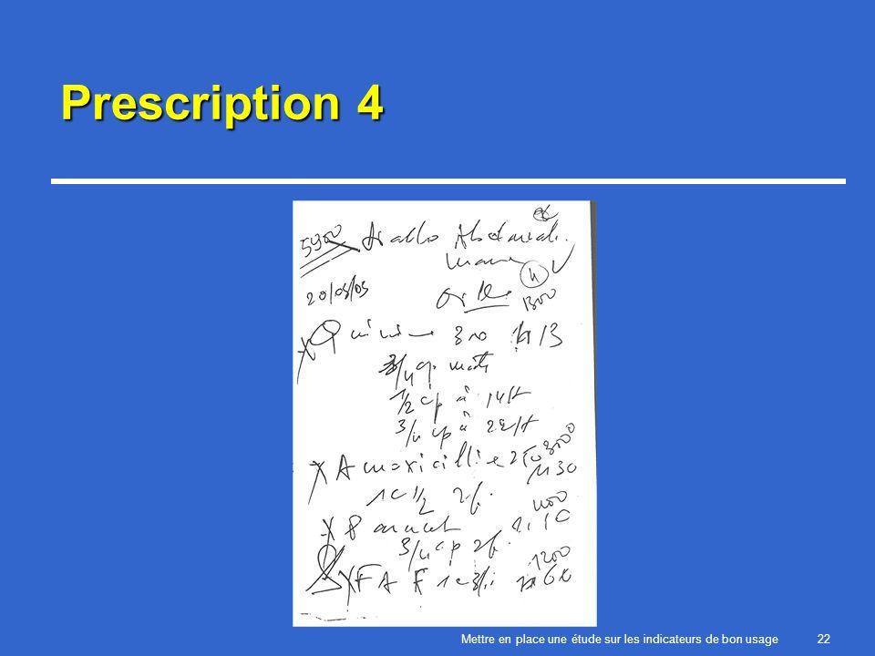 Mettre en place une étude sur les indicateurs de bon usage22 Prescription 4