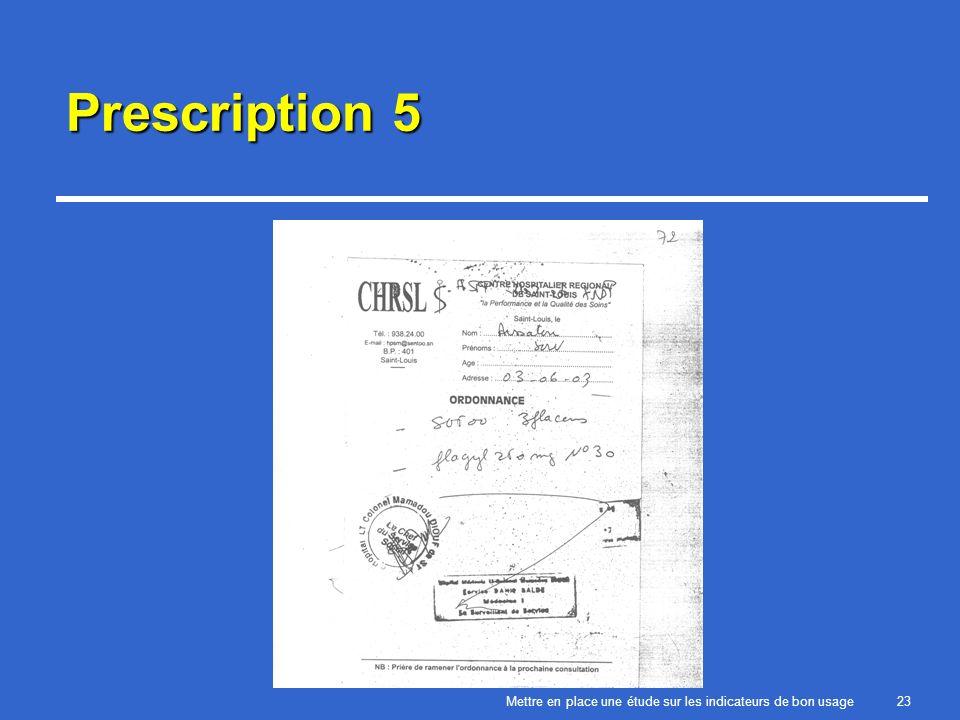 Mettre en place une étude sur les indicateurs de bon usage23 Prescription 5