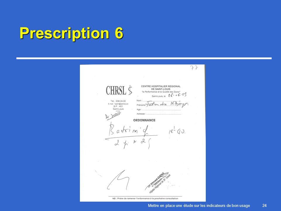 Mettre en place une étude sur les indicateurs de bon usage24 Prescription 6