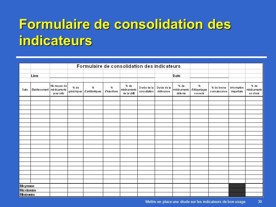 Mettre en place une étude sur les indicateurs de bon usage30 Formulaire de consolidation des indicateurs