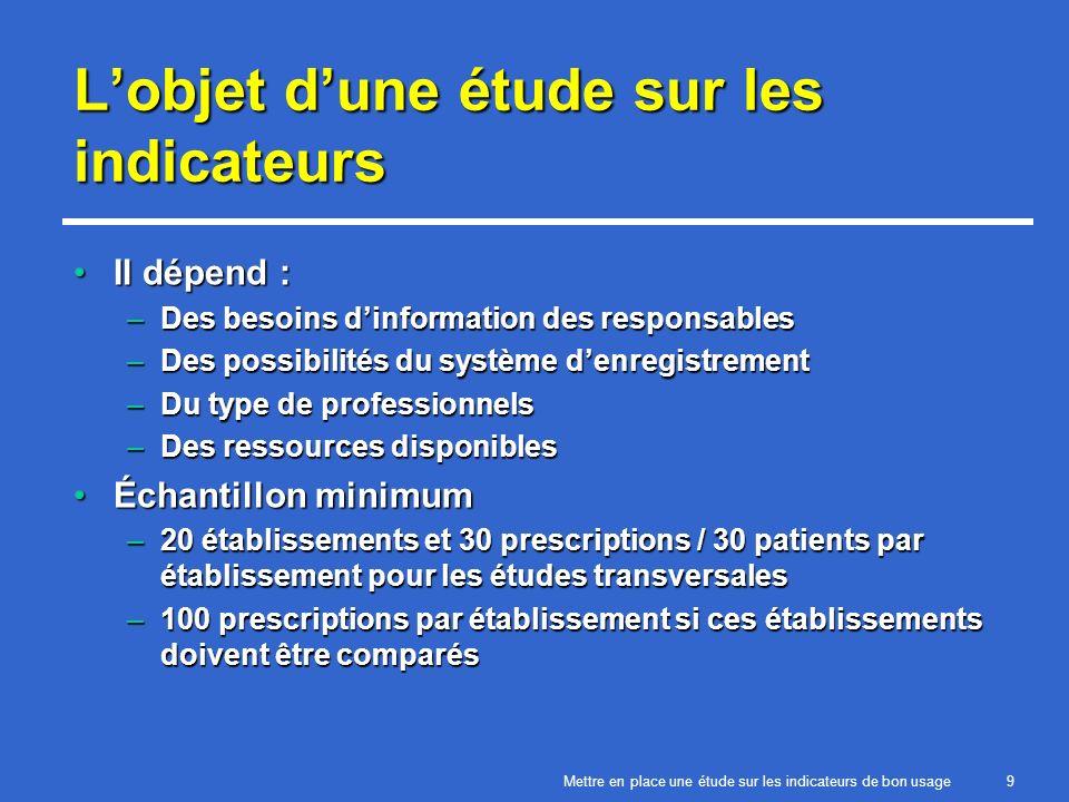 Mettre en place une étude sur les indicateurs de bon usage20 Prescription 2