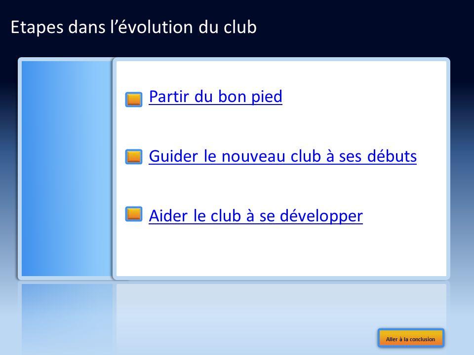 Etapes dans lévolution du club Partir du bon pied Guider le nouveau club à ses débuts Aider le club à se développer Aller à la conclusion