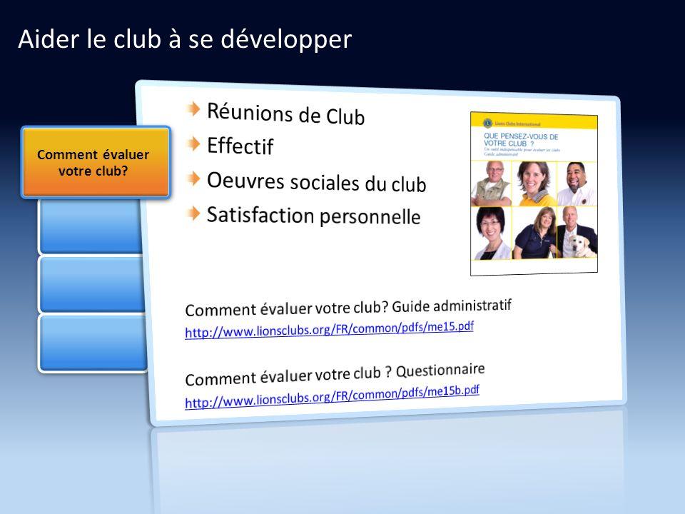 Aider le club à se développer Comment évaluer votre club?