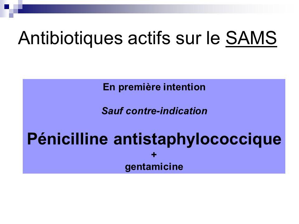 Antibiotiques actifs sur le SAMS En première intention Sauf contre-indication Pénicilline antistaphylococcique + gentamicine