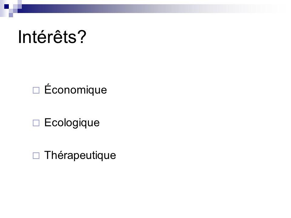Intérêts? Économique Ecologique Thérapeutique