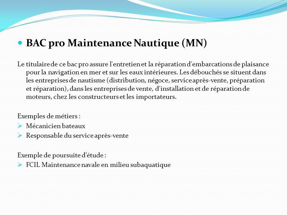 BAC pro Maintenance Nautique (MN) Le titulaire de ce bac pro assure l'entretien et la réparation d'embarcations de plaisance pour la navigation en mer