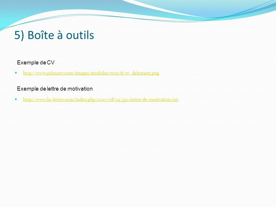 5) Boîte à outils http://www.primocv.com/images/modules/tour/fr/cv_debutant.png http://www.la-lettre.com/index.php/2007/08/29/352-lettre-de-motivation
