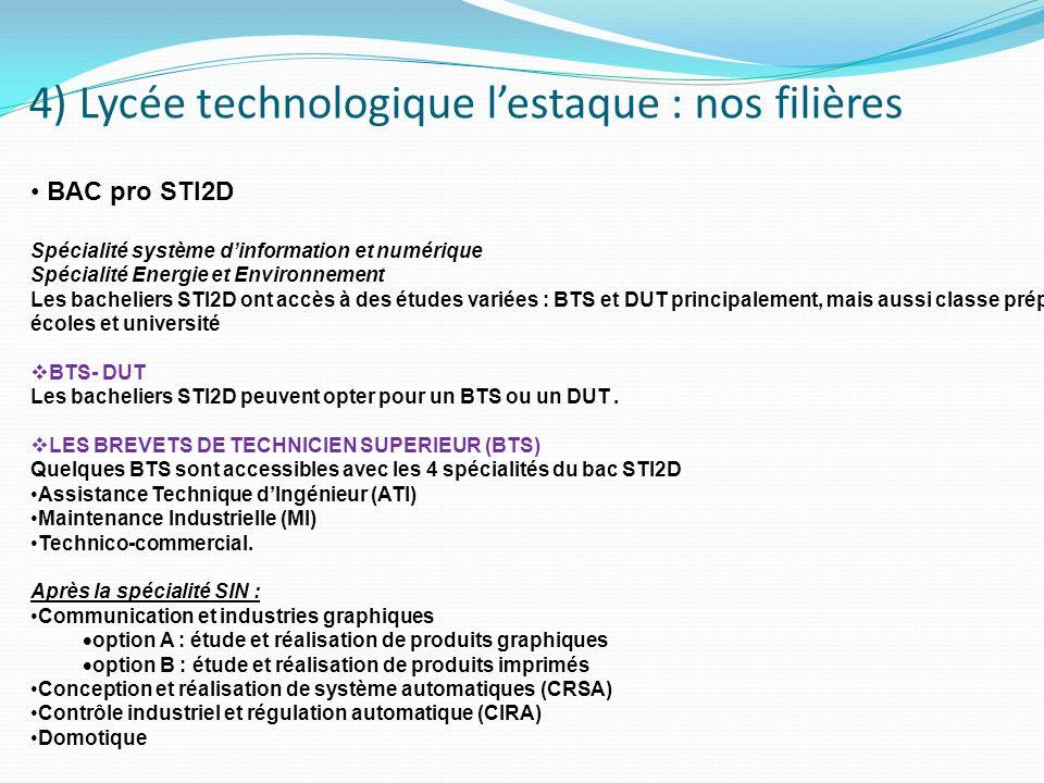4) Lycée technologique lestaque : nos filières STI 2 D BAC pro STI2D Spécialité système dinformation et numérique Spécialité Energie et Environnement